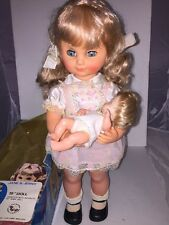 "JANE & JENNY 19"" Doll And 6"" Baby ROCKING MOTION Musical Lullaby VINTAGE Dolls"