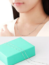 Lady's 925 Silver Ingot Chain Necklace Women Fashion Vintage Luxury Necklace
