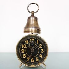 MAUTHE ANTIQUE Alarm/Mantel Clock 1920's!! Germany Unusual Model Black Dial Bell