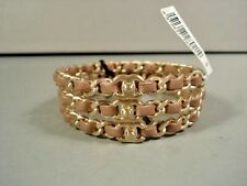 "Chanel 3 Stackable Dark Beige Leather Gold Woven ""CC"" Chain Bangle Bracelets NEW"