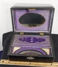 Antique Victorian Era Wooden Dresser Trinket Box Travel Case !