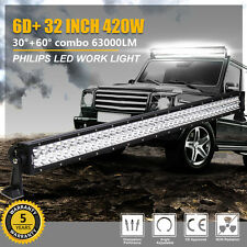 6D+ PHILIPS 32In 420W LED Light Bar Offroad Work Lamp Spot Flood 4WD Boat Truck