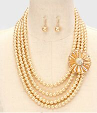 Champagne Light Brown  Pearl Crystal Multi Layered Bridal Necklace Set Earring