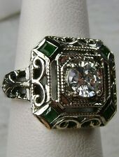 Emerald & White Gems 1930s Art Deco Solid Sterling Silver Filigree Ring Size: 11