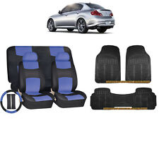 14PC BLUE PU LEATHER SEAT COVERS BENCH & BLACK RUBBER MATS FOR CARS 9203