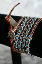 NEW Chan Luu Sterling Silver Blue Cotton Brown Leather Mix 5 Wrap Bracelet UNIQ