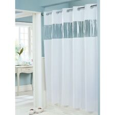 New Hookless Shower Curtain White 71 x 74 Vinyl Vision See Thru Window 8 Gauge
