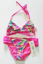 Roxy Girls Paradise Beach Ruffle Bikini Set Knockout Pink Sz 12 - NWT