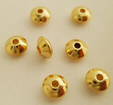 50pcs Premium 14k Gold Plated Flying Saucer Beads Spacers Eco-friendly 6 x 3mm