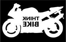 Think Bike Stop think bike motorcycle Sticker Decal Graphic Vinyl  White Rev V2