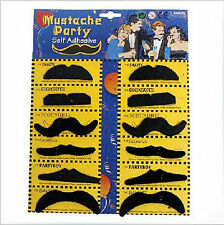 12pcs False Self Adheself Assorted Black Party Character Mustaches Fancy