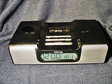 iHome IH5BR Black Alarm Clock Radio Stereo Speakers w/iPhone iPod Dock EUC Works