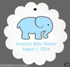 24 Personalized Baby Elephant Baby Shower Favor Scalloped Tags Party Favors
