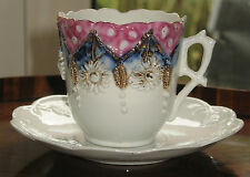 Antique : an attractive Victorian porcelain egg shell lustre Cup and Saucer