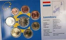 Luxembourg Euro 8 Coin Uncirculated Set Mixed Dates 1999-2002