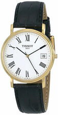 Tissot T52542113 T-Classic Desire White Dial Gold SS Men Leather Watch New Orig