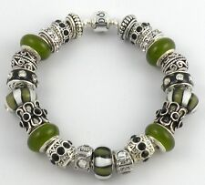 NEW Authentic PANDORA Barrel Bracelet with GREEN & BLACK European Charms & Beads