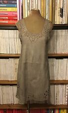 SHAKUHACHI real suede leather laser cut mini dress UK 8-10 US 4-6 taupe beige