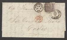 Great Britain 1865 6d plate 6 on 6.7.1867 cover to Cardiff Spain SG 97