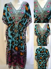 PLUS SIZE TRIBAL LEOPARD PRINT KAFTAN MAXI DRESS BLUE 18 20 22 24 26 28 30