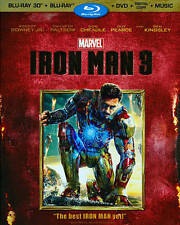 Iron Man 3 Blu-ray/DVD 3-Disc Set, 3D 2D Digital Copy 2013 Marvel Downey Paltrow