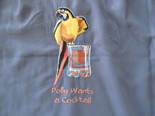 CARIBBEAN  Embroidered POLLY WANTS A COCKTAIL Button Front Shirt sz M NWT
