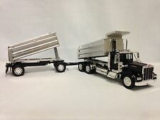 Kenworth W900 Twin Dump Truck, 1:32 Scale Diecast, New Ray Toy, Black
