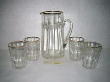 EAPG Glass Pitcher Juice Glass Set Gold Trim Antique Victorian Wreath Pattern