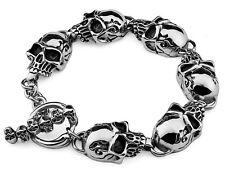 """9"""" Gothic Rocker Biker Cool SKULLS Polished Casting 316 Stainless Steel Bracelet"""