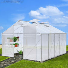 12.64 m³ Greenhouse Polycarbonate Aluminium Frame 4 Windows Grow Plants Garden