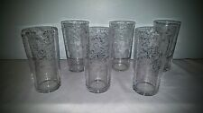 "Set of 6 Flat Tumblers Cambridge Rose Point #498 5 1/4"" 12 oz. Hard To Find!!!!"