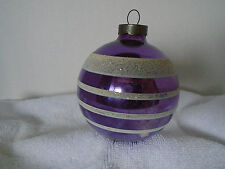 Vintage Shiny Brite Purple & White Striped Frosted Christmas Ornament