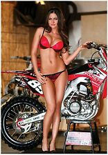 HONDA CRF250 SUPERCROSS RACE BIKE w/ MX GIRL PIN UP GIANT POSTER rocket exhaust