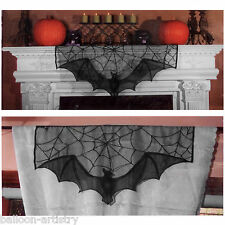 94cm Halloween Party Gothic Black Spider Web Bat Lace Curtain Topper Decoration