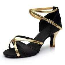 New Women Girls Gold Glitter Latin Salsa Bachata Ballroom Dance Shoes Black Nice