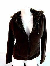 ROXY WOMENS BROWN FUR LINED HOODED HOODIE JACKET SIZE S