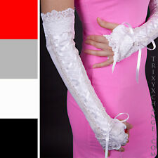 Long White Corset Fingerless Gloves Bridal Formal Stretch Sleeves Wedding 1038