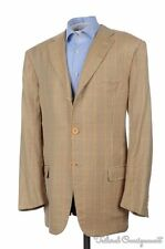 ISAIA Recent Base S Beige Check BAMBOO SILK Mens Blazer Sport Coat Jacket - 46 L