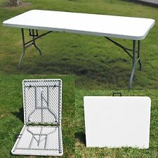 New White 6ft Trestle Half Folding Banquet Party Garden Outdoor Camping Table