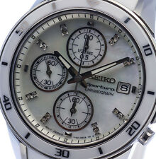 NEW WOMEN'S SEIKO SPORTURA 16 DIAMONDS MOTHER OF PEARL CHRONOGRAPH SNDX57P1