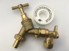 """1/2"""" Brass Outdoor Garden Tap with Check Valve + WALL PLATE - Outside Union+PTFE"""