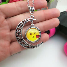 Emoji face kiss Emoticon moon Cabochon Glass Charm chain pendant necklace