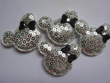 10 x SILVER SEQUIN MINNIE MICKEY MOUSE HEAD APPLIQUE HEADBANDS DUMMY CLIPS