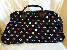 NEW Rolling Suitcase Duffle Bag with Wheels Black Colorful Paw Print Luggage