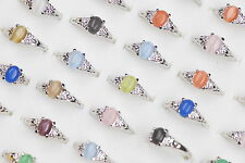 Wholesale Mixed Jewelry Lots 5ps Assorted Colors Cat Eye Unisex  Wedding Rings