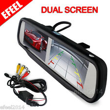 "HD 4.3"" Dual Screen Car Rear View Monitor Mirror + 4 AV-in For Backup Camera DVD"