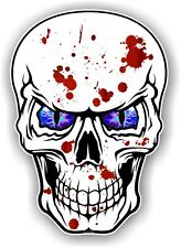 Blood Splatter Emo Gothic Skull With Cool Blue Evil Eyes car bike sticker Decal