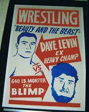 VERY RARE size40x60 1946 linen backed wrestling poster DAVE LEVIN vs THE BLIMP