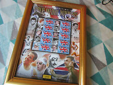 Framed Great BRITISH Gold Medal Winners LE SMILERS Stamp Sheet with Benham COA