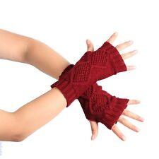 Fashion Knitted Arm Fingerless Winter Gloves Soft Warm Mitten Wine Red